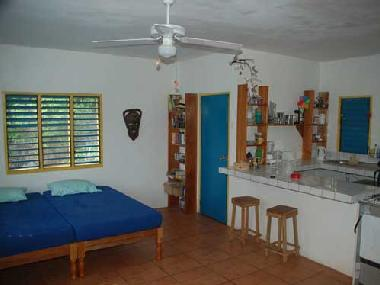 inside blue cottage