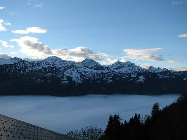 High above the fog over lake Thun