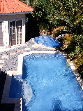 Aerial view of private pool and 6-person jetted jacuzzi
