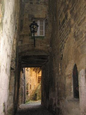 The alley leading to the door of the town house