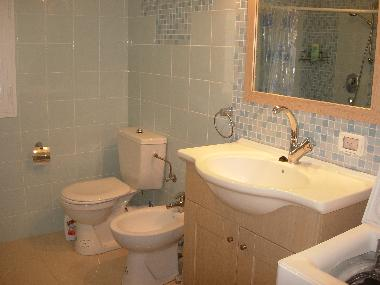 The biger bath room with toilet and shower. There is another smaller bathroom with toilet and shower