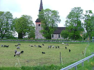 Church with lambs from Prästgården. You canpurchase there fur at Lovö Magasin.
