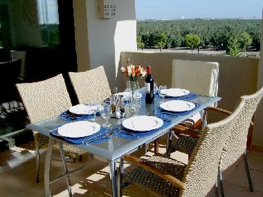 Al fresco dining on the large balcony - overlooking the olive groves