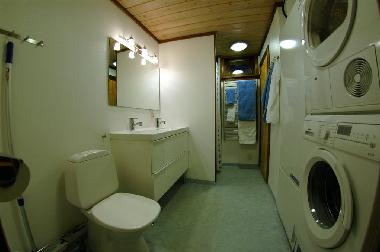 Main WC with double washbasins. Shower is farthest to the left.