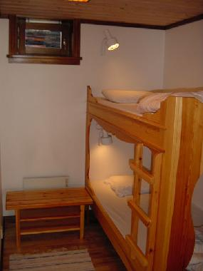 Two more bed rooms, each with two beds, in total 8 beds. Below, comfortable interior sprung mattress