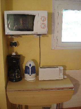 Microwave, coffe machine, toaster and kettle