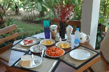 Breakfast with many fruits
