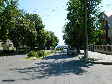 Our street - the sea can be seen at the end of the street