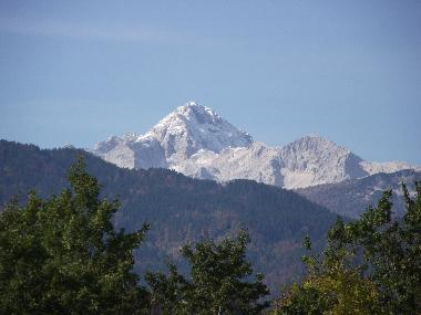 view on triglav from apartment window