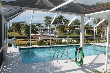 Large solar heated pool and outdoor shower