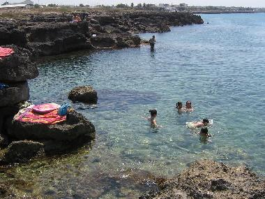 the beach is rocky but easily accessible for children