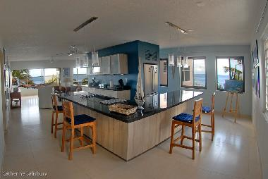 You can enjoy a cocktail in the kitchen while taking in the ocean.