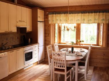 Kitchen has bay windows facing the forest. The kitchen is very well equipped.