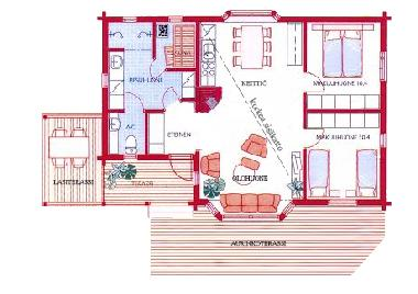 Layout of the villa. The ceiling in the living room and kitchen is high and sloping. There are two s