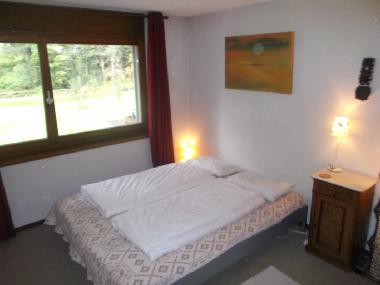 King size bed with picture window to Falls